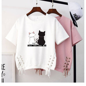 T Shirt Women Cute Tops For Summer Kawaii Clothes Harajuku Women Ladies Solid color Short sleeve Casual White Pink