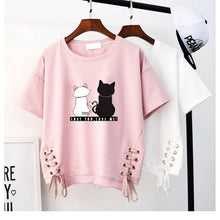 Load image into Gallery viewer, T Shirt Women Cute Tops For Summer Kawaii Clothes Harajuku Women Ladies Solid color Short sleeve Casual White Pink