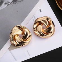 Load image into Gallery viewer, Big Vintage Metal Twisted Dangle Earrings For Women Charm Gold Color Za Maxi Statement Spiral Whirlpool Earrings Jewelry