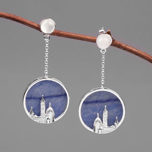 INATURE 925 Sterling Silver Blue Aventurine Florence Cathedral Statement Drop Earrings For Women Fashion Jewelry