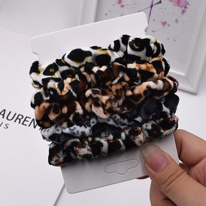 6Pcs/Lot Fashion Simple Basic Elastic Hair Bands  Ponytail Holder Leopard Scrunchies Headband For Girl Women Hair Accessorie set