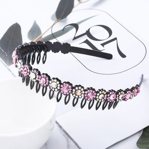 AWAYTR Hairbands Non-slip Bezel Colorful Rhinestone Flower Water Ripple Hair Hoop Headband for Women Hair Band Hair Accessories