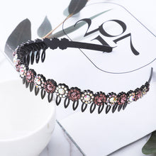 Load image into Gallery viewer, AWAYTR Hairbands Non-slip Bezel Colorful Rhinestone Flower Water Ripple Hair Hoop Headband for Women Hair Band Hair Accessories