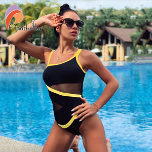 Andzhelika Sexy One Shoulder One Piece Swimsuit 2020 New Off Shoulder Mesh Patchwork Swimwear Bodysuit Bathing Suit Monokini
