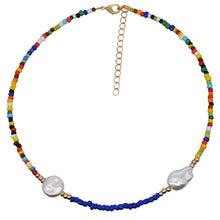 Load image into Gallery viewer, Bohemian Colorful Beads Necklace Long Horn Pendant Starfish Multi-layer Pearl Necklace Set Clavicle Chain Women Jewelry