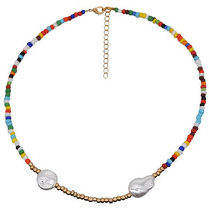 Bohemian Colorful Beads Necklace Long Horn Pendant Starfish Multi-layer Pearl Necklace Set Clavicle Chain Women Jewelry