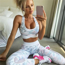 Load image into Gallery viewer, 2 Piece Womens Yoga Suit Femme Workout Sports Bra and Leggings Set Sports Wear for Women Gym Clothing Athletic Fitness Tracksuit