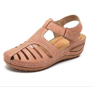 MCCKLE Woman 2020 Summer Leather Vintage Sandals Buckle Casual Sewing Women Retro Sandalias Female Ladies Platform Shoes 36-46