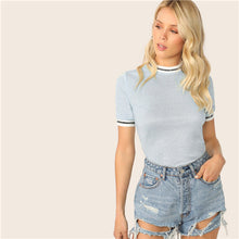 Load image into Gallery viewer, SHEIN Glitter From Fitting Ringer Tee Spring Summer Autumn Slim Fit Blue Stand Collar Striped T Shirt Women Summer T-shirts