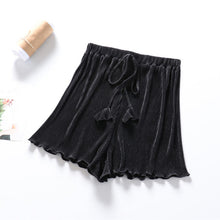 Load image into Gallery viewer, Lace Up Striped Pleated Shorts Women White Black High Waist Wide Leg Shorts Hotpants Loose Short Femme Women Summer Shorts C5478