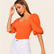 Load image into Gallery viewer, SHEIN Puff Sleeve Solid Fitted Tee Elegant Square Neck 3/4 Sleeve 2019 Summer Tops Modern Lady Women Plain Casual T-shirt