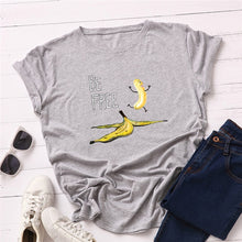 Load image into Gallery viewer, Plus Size S-5XL New Banana Print T Shirt Women 100%Cotton O Neck Short Sleeve Summer Pink Tops Women TShirt Funny T Shirts