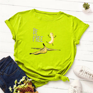 Plus Size S-5XL New Banana Print T Shirt Women 100%Cotton O Neck Short Sleeve Summer Pink Tops Women TShirt Funny T Shirts