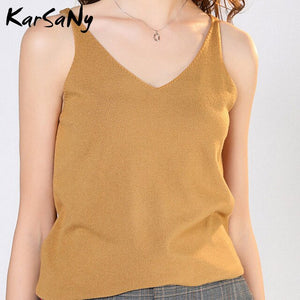 KarSaNy Women's Tops Knit Top Sleeveless Women 2020 Summer Things For Women V Neck Sexy Top Female White Knitted Sleeveless Tops