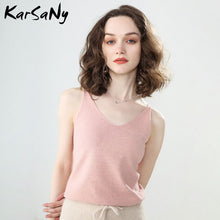 Load image into Gallery viewer, KarSaNy Women's Tops Knit Top Sleeveless Women 2020 Summer Things For Women V Neck Sexy Top Female White Knitted Sleeveless Tops