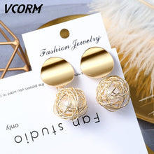 Load image into Gallery viewer, New Korean Acrylic Earrings For Women Statement Vintage Geometric Gold Dangle Drop Earrings 2019 Female Wedding Fashion Jewelry