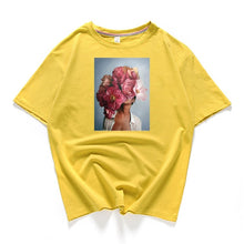 Load image into Gallery viewer, 95% cotton bloom flower feather women t -shirt 2019 summer short sleeve round neck harajuku printing tee Casual fashion Female