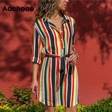 Load image into Gallery viewer, Long Sleeve Shirt Dress 2020 Summer Boho Beach Dresses Women Casual Striped Print A-line Mini Party Dress Vestidos