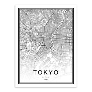 Black White Custom World City Map Paris London New York Posters Nordic Living Room Wall Art Pictures Home Decor Canvas Paintings