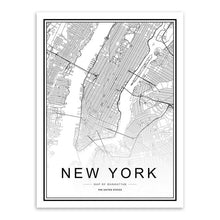 Load image into Gallery viewer, Black White Custom World City Map Paris London New York Posters Nordic Living Room Wall Art Pictures Home Decor Canvas Paintings