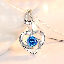 Load image into Gallery viewer, KOFSAC New Luxury Crystal CZ Heart Pendant Choker Necklace 925 Sterling Silver Chain Necklaces For Women Wedding Jewelry Gifts