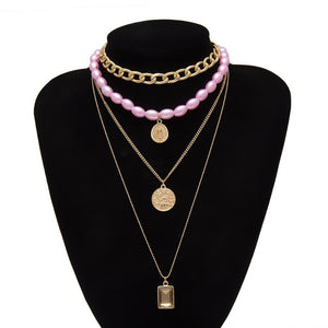 IngeSight.Z Punk Multi Layered Pearl Choker Necklace Collar Statement Virgin Mary Coin Crystal Pendant Necklace Women Jewelry