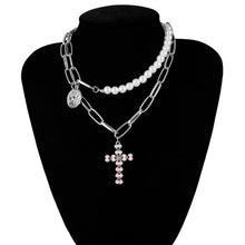 Load image into Gallery viewer, IngeSight.Z Punk Multi Layered Pearl Choker Necklace Collar Statement Virgin Mary Coin Crystal Pendant Necklace Women Jewelry