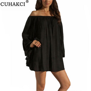 CUHAKCI Off Shoulder Dresses Women Summer Fashion Chiffon Mini Dress Flare Sleeve Sexy Loose White Black Plus Size Dress XXXL