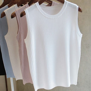 Knitted Vests Women Top O-neck Solid Tank Blusas Mujer De Moda 2020 Summer Fashion Female Sleeveless Casual Thin Tops 4588 50