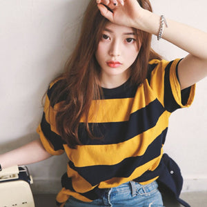 2020 New Striped Short Sleeve Women's tshirt Loose O-Neck Bottoming Loose Harajuku Shirt Vest Women's t shirt woman cloth FIFTY