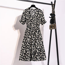 Load image into Gallery viewer, Women Chiffon Dress 2020 Summer Fashion Female Short Sleeve Vintage Printed Floral Casual Dresses V-neck A-line Vestidos