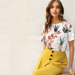 SHEIN Floral And Plants Print Womens Shirts Summer Short Sleeve Casual Basic Streetwear Pullovers White T Shirt Tops