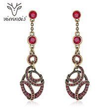 Load image into Gallery viewer, Viennois Vintage Dangle Earrings For Women Red Zircon Gold Color Ear Fashion Jewelry Party 2020 Earrings