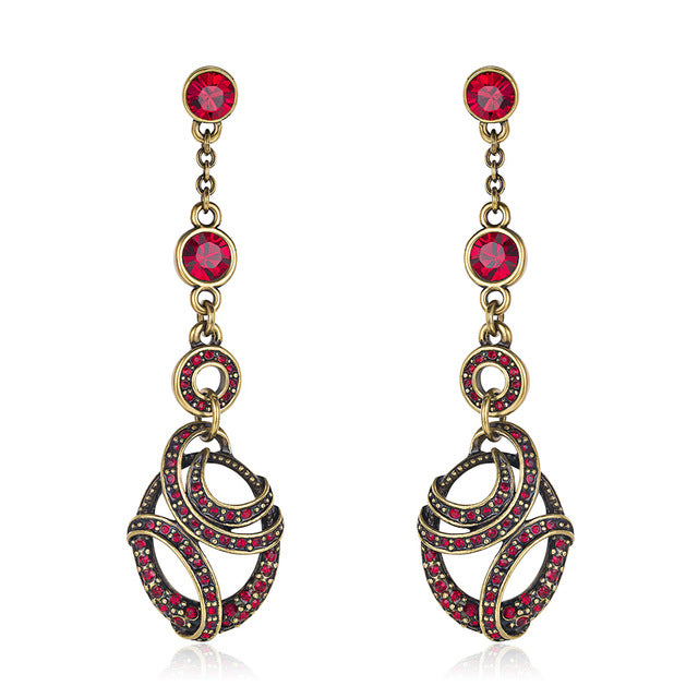 Viennois Vintage Dangle Earrings For Women Red Zircon Gold Color Ear Fashion Jewelry Party 2020 Earrings