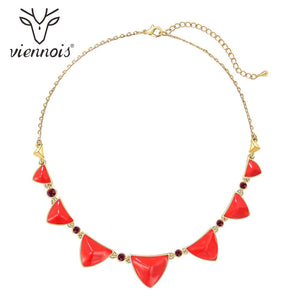 Viennois New Fashion Jewelry Gold Color Chain Necklace With Red Crystal Rhinestone Women Luxury Wedding Necklaces 2020
