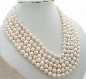 5 strands 9mm white real pearl 5 rows necklace natural freshwater pearl Woman Jewelry 35cm 43cm 17'' 14''