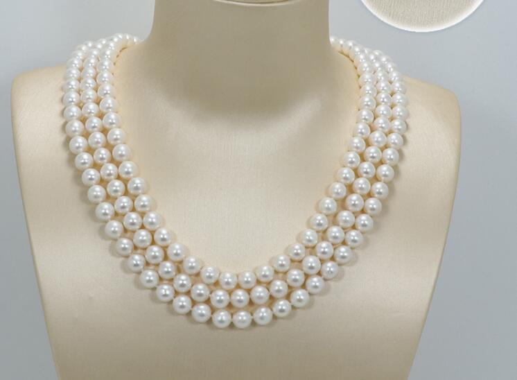 3 strands 10mm white round pearl 3 rows necklace natural freshwater pearl Woman Jewelry 35cm 43cm 17'' 14''