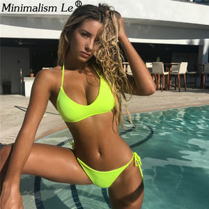 Women Solid Bikini Set Sexy Micro Bandage Swimwear Low Waist Bathing Suit High Cut Swimsuit New Halter Top Beachwear Biquini