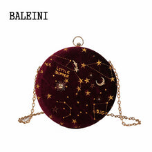 Load image into Gallery viewer, 2020Starry sky Circular Fashion Suede Shoulder Bag Chain belt Women's Crossbody Messenger Bags Ladies Purse Female Round Handbag