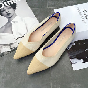 2019 Women's Flat Shoes Ballet Shoes Breathable Knit Pointed Shoes Moccasin Mixed Color Women's Soft Shoes Women Zapatos De