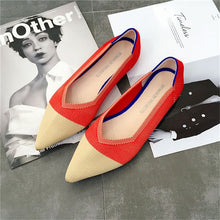 Load image into Gallery viewer, 2019 Women's Flat Shoes Ballet Shoes Breathable Knit Pointed Shoes Moccasin Mixed Color Women's Soft Shoes Women Zapatos De
