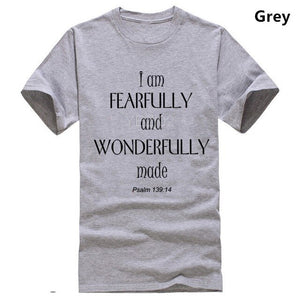 I am Fearfully And Wonderfully Made Bible Scripture Christian Slogan Men T shirt