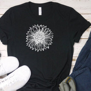 Sunflower Printing T-shirt Street Wear Basic Tshirt Vintage Cute Streetwear O-Neck Shirts for Women New Summer Hot Sale Top