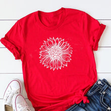 Load image into Gallery viewer, Sunflower Printing T-shirt Street Wear Basic Tshirt Vintage Cute Streetwear O-Neck Shirts for Women New Summer Hot Sale Top