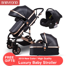 Load image into Gallery viewer, Normal ship! 3 in 1 baby strollers and sleeping basket newborn 2 in 1 baby stroller Europe baby pram one parcel with car seat