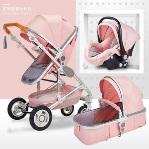 Normal ship! 3 in 1 baby strollers and sleeping basket newborn 2 in 1 baby stroller Europe baby pram one parcel with car seat