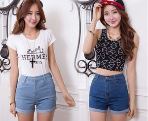 Free Shipping Women Summer Denim Shorts Fashion High Waist Women Skinny Jean Shorts D000