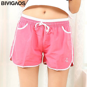BIVIGAOS New Womens Summer Shorts Quick-Drying Casual Loose Drawstring Short Light Color Mini Shorts For Women Short Fashion
