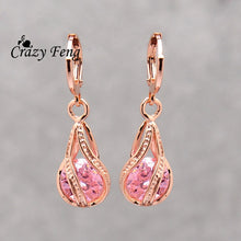 Load image into Gallery viewer, Elegant Pink CZ Crystal Earrings Rose Gold Color Hollow Out Drop Earrings for Women Wedding Party Costume Jewelry brincos Gift