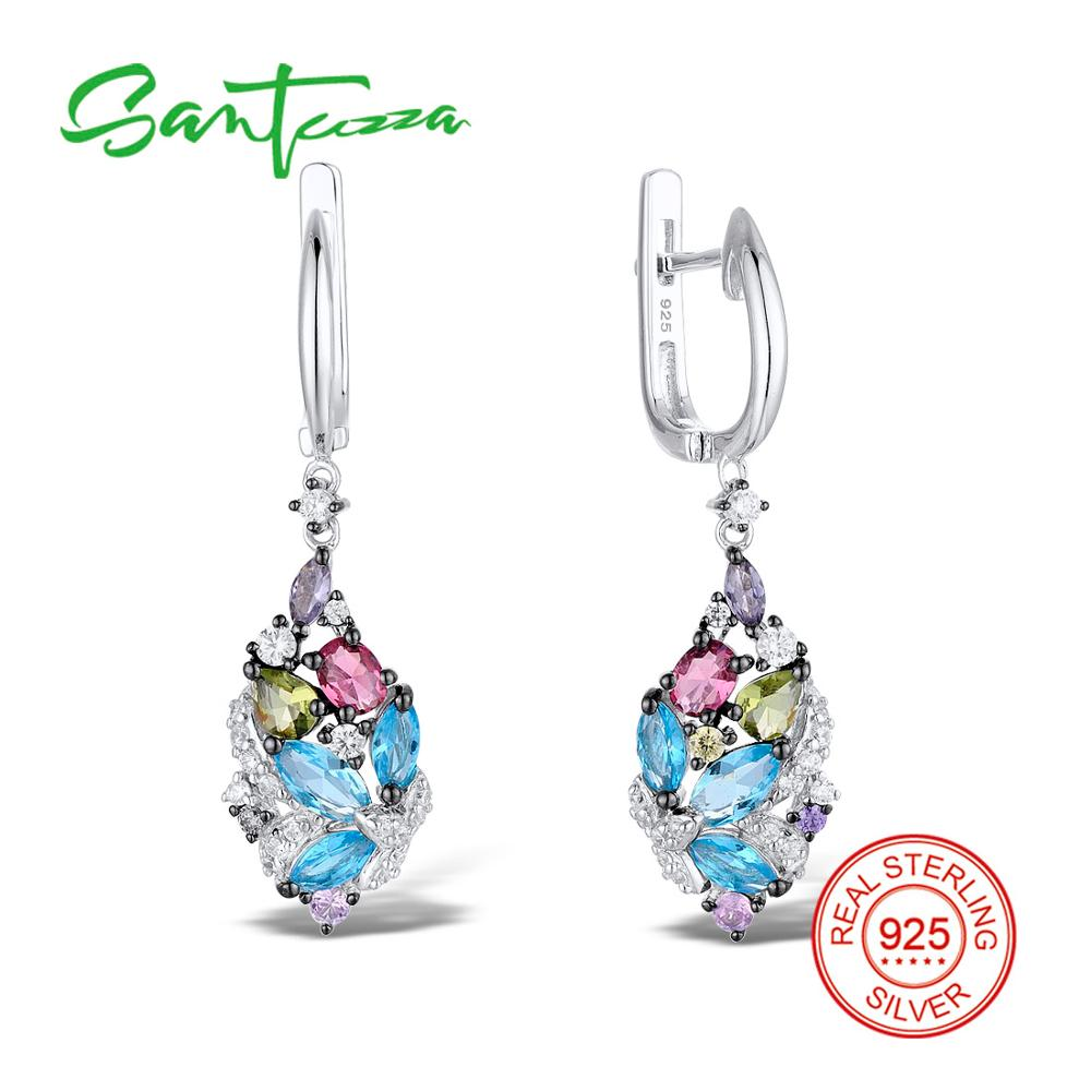 SANTUZZA Silver Earrings For Women 925 Sterling Silver Dangle Earrings Long Silver 925 with Stone Cubic Zirconia brincos Jewelry